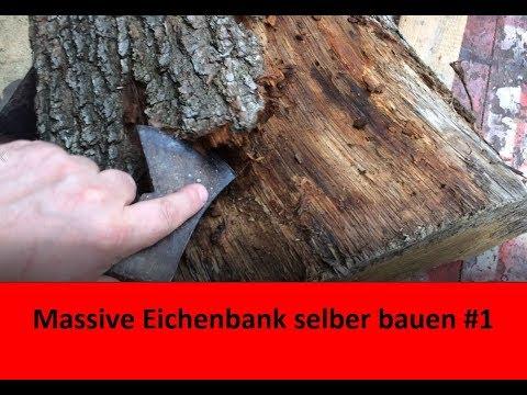 Rustikale Holzbank selber bauen | massive Eichenbank für den Forellenteich #1