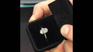 4 Carat Oval Diamond 3 Row Pave Engagement Ring