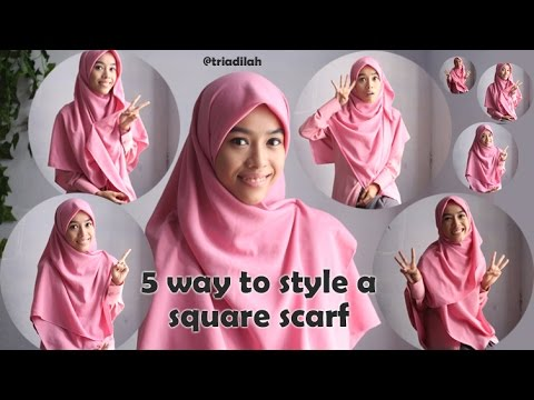 Video hijab Syar'i Tutorial: 5 way to style square scarf