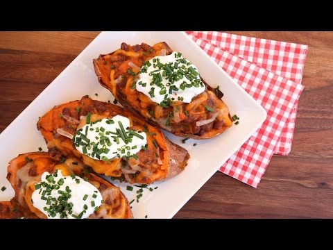 Video Smoky Stuffed Sweet Potato Recipe | Vegetarian BBQ