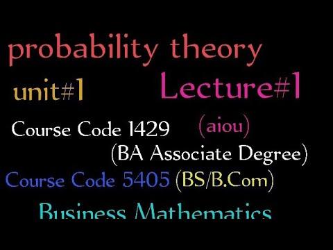 Basic probability theory AIOU programme B.A Business mathematics ...maths teacher