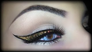 Easy Sexy Black & Gold Glitter Eyeliner - Christmas Make Up Tutorial using CHANEL