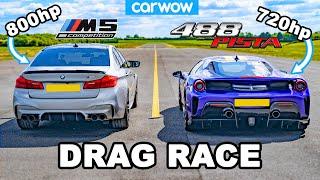 [carwow] BMW M5 800hp v Ferrari 488 Pista - DRAG RACE