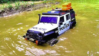 Rc Car Off Road Water !!! POLICE CAR Off road Driving rc car drives on water bashing !