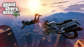 EPIC DOUBLE SKYDIVE STUNT! - (GTA V Stunts & Fails)