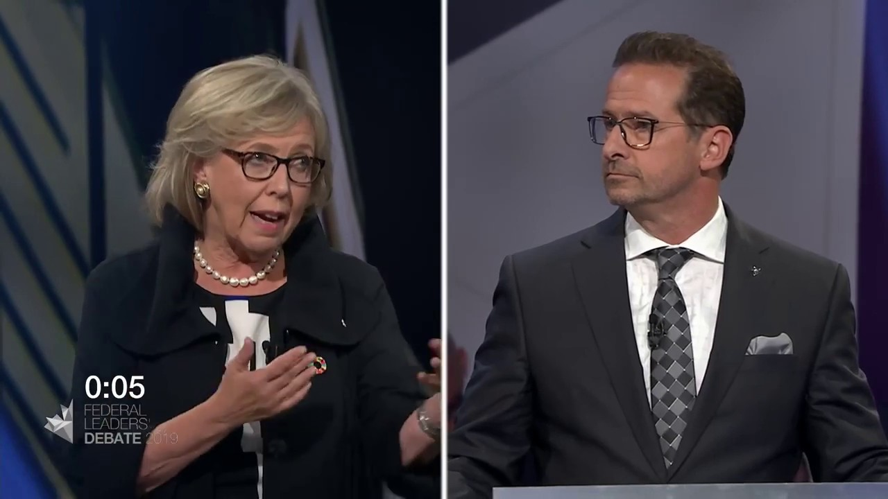 Elizabeth May debates household debt with Yves-François Blanchet