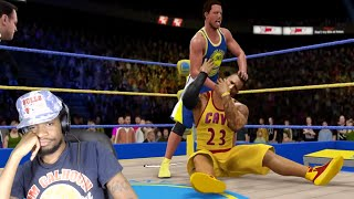 THIS SOME BS!! STEPHEN CURRY vs. LEBRON JAMES WWE 2K16 REACTION!! | Kholo.pk