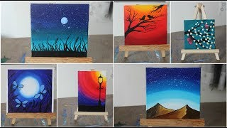 6 Paintings For Beginners || Complete Guide On Blending Techniques  || Painting On 6 Tiny Canvases
