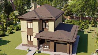 Проект дома 235-A, Площадь дома: 235 м2, Размер дома:  12,4x12,4 м