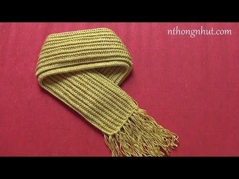 Crochet baby scarf tutorial (Eng sub) I Hướng dẫn móc khăn len kiểu giả đan cho bé trai