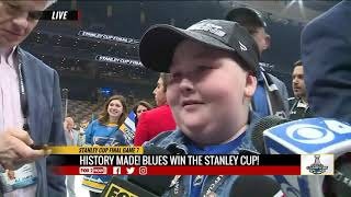 Blues super fan Laila has emotional reunion with players on the ice after Stanley Cup win