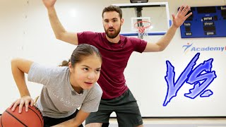 Kid Professional Challenges 6'3 Adult In Basketball