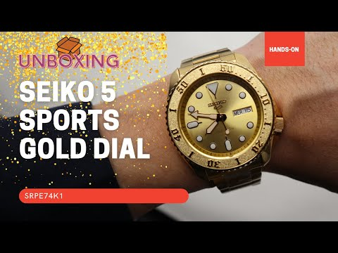 SEIKO 5 SPORTS AUTOMATIC WATCH IN GOLD SRPE74K1