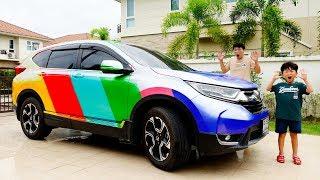 자동차 장난감 색깔바꾸기 놀이 예준이와 아빠의 맥퀸 전동차 세차놀이 물감놀이 Car Toy Video for Kids Learn Colors with Power Wheels
