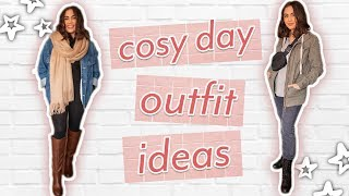 5 CUTE COSY DAY OUTFIT IDEAS // Outfits For Lazy + Rainy Days ♡