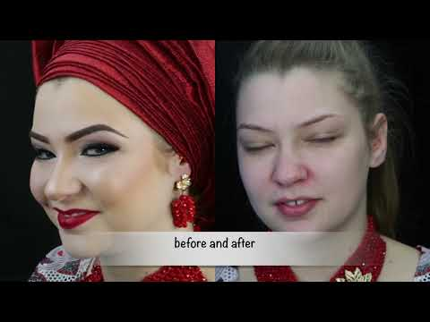 Nigerian  bridal wedding Makeup tutorial and  gele/Makeup transformation |THE BEAUTICIANCHIC