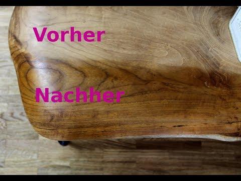 Holztisch mit Hausmittel zum glänzen bringen