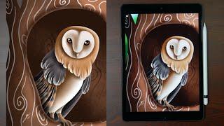 Owl   Digital Illustration With IPad (Procreate)