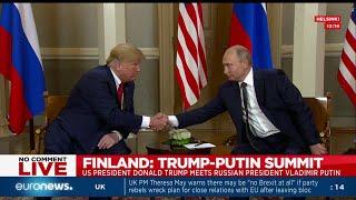 US President Donald Trump and Russian President Vladimir Putin hold one-on-one meeting