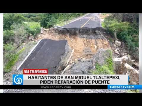 Habitantes de San Miguel Tlaltepexi, Puebla, piden reparación de puente