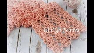 How To Crochet Lace Scarf With Flowers Designs, Mile A Minute, Crochet Video Tutorial
