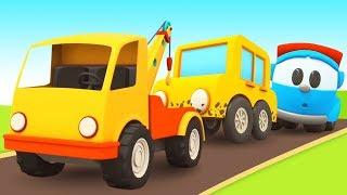 Грузовичок Лева. Сборник мультиков для малышей! Собираем автомойку и парковку для машинок!
