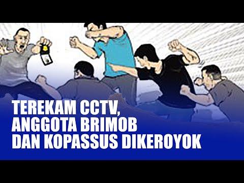Rekaman CCTV Anggota Brimob Tewas Dikeroyok