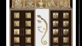 Antique Model Pooja Doors-Murals Of Brass-White Metal- Teakwood Doors With Inlays- RichLook-Poshdoor