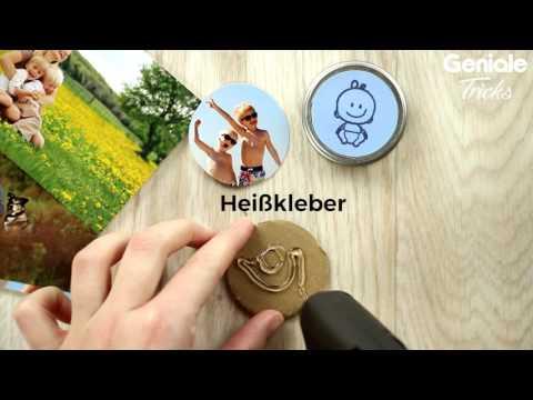 Bilder von deiner Familie - DIY Anleitung für Kühlschrank Magneten aus Babygläschen