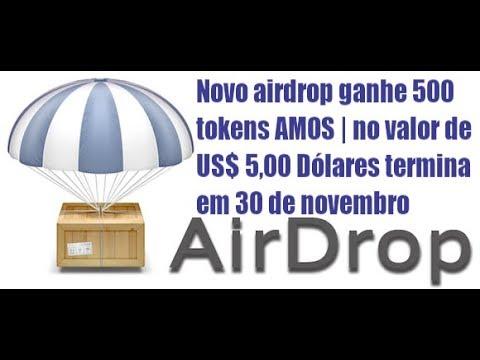 Novo airdrop ganhe 500 tokens AMOS   no valor de US$ 5,00 Dólares termina em 30 de novembro