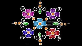 DCute flower rangoli design 8*8dots with colors | Daily kolams | Rangoli with dots |