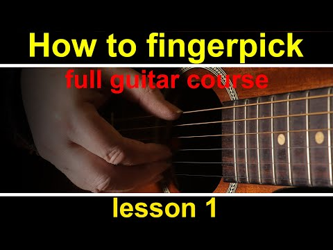 Guitar Lesson 1, how to play fingerstyle guitar. (fingerpicking guitar course)