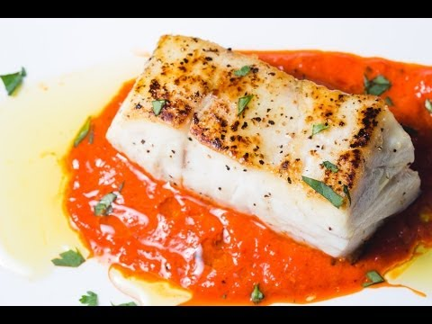 The Best Seared Sea Bass with Roasted Red Pepper Sauce | SAM THE COOKING GUY