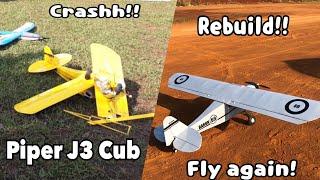 RC Plane Piper J3 Cub!! Crash-Rebuild-Fly!