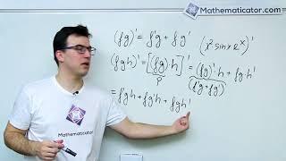 Derivace funkce - Derivace součinu tří funkcí