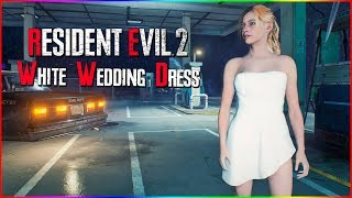 Resident Evil 2 Sexy White Wedding Dress Outfit For Claire
