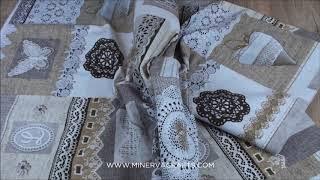 Antique Lace Print Cotton & Polyester Canvas Fabric