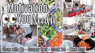 NEW! CLEAN WITH ME + GROCERY HAUL 2019 :: CROCK POT & MEAL PREP :: HOMEMAKING & CLEANING MOTIVATION