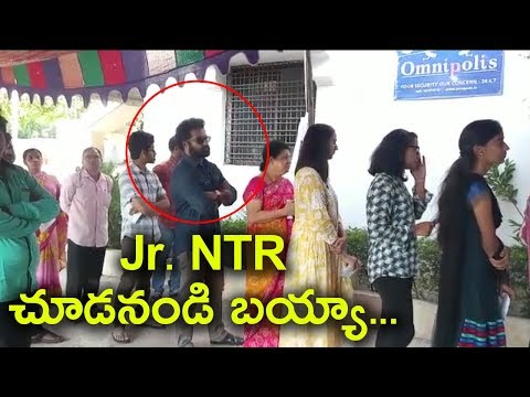 Jr NTR in Queue For Voting in MP Elections