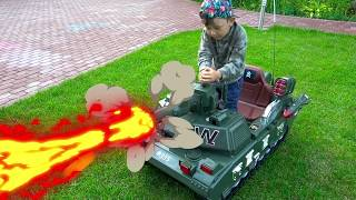 Senya Unboxing TANK Pretend Play and Playing with POWER Wheel TANK