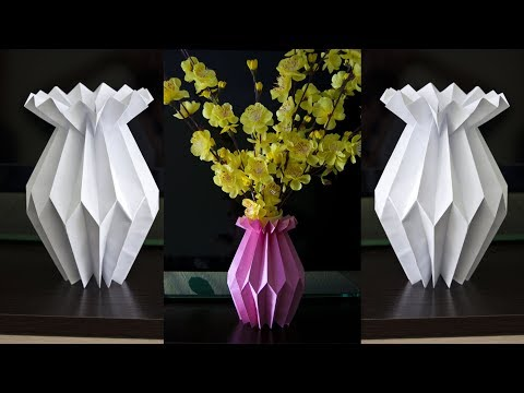 How to make a paper flower vase – DIY Paper Craft – Home decoration ideas