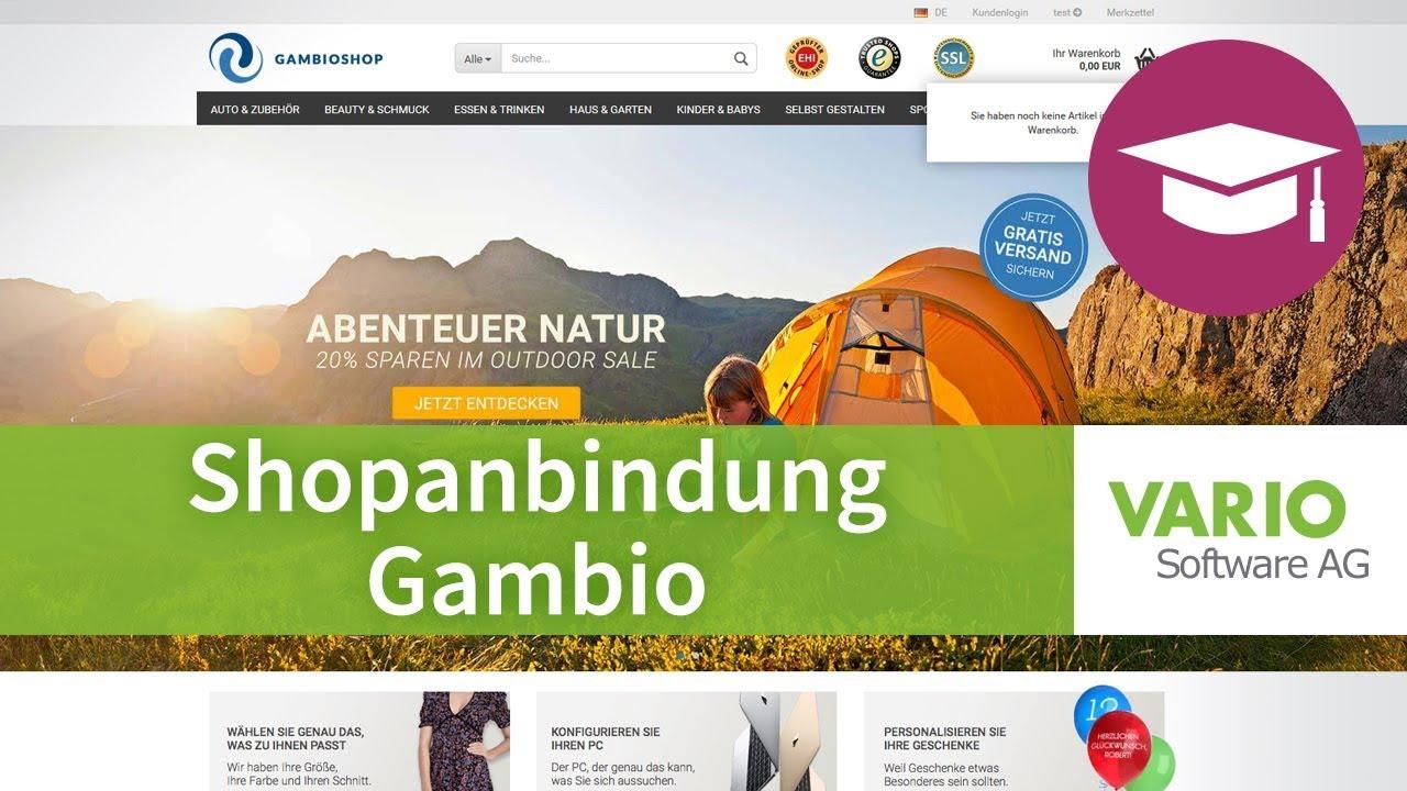 Anbindung eines leeren Gambio-Onlineshops an VARIO 8
