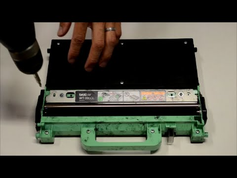 How to reuse Brother printer waste toner container box WT300CL cleanup cleaning DIY hack fix