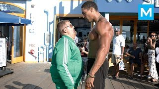 Fat Man VS Bodybuilders(Epic Prank) Muscle Madness