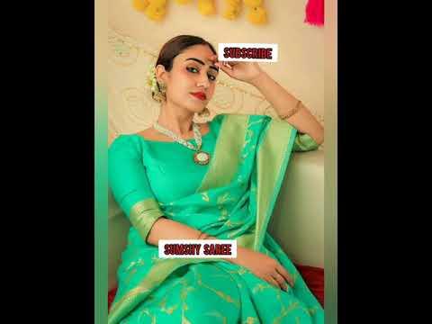 Saree with Embroidery Diamond Work Heavy Jacquard Lace Border Fancy Latkan