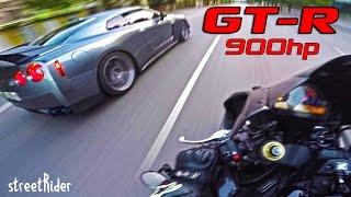ВСТРЕТИЛ МЕЧТУ | Nissan GT-R (900hp) vs CBR1000RR (180hp)