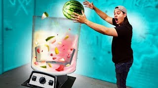 Throwing Things Into A GIANT Blender!!