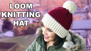 LOOM KNITTING HAT FOR BEGINNERS! | CJ Design ♡