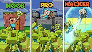 Minecraft - ZOMBIE BASE DEFENSE! (NOOB vs PRO vs HACKER)