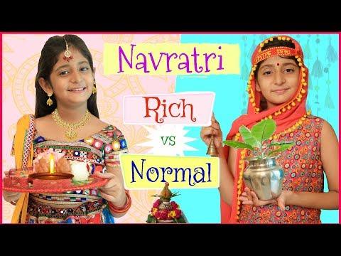 , title : 'KIDS In NAVRATRI - Rich Vs Normal   #RolePlay #Sketch #Dandiyanight #Garba #Mymissanand'